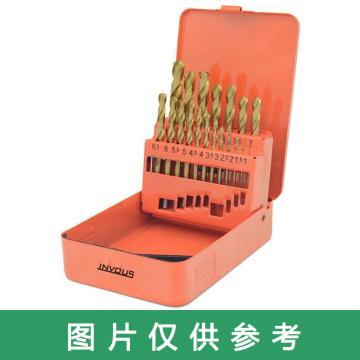"INVOUS 13件套高速钢镀钛英制全磨制钻头组套,1,16""-1,4"",IS781-82623"