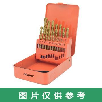 INVOUS 19件套高速钢镀钛含钴麻花钻头1.0-10.0mm,IS781-82613