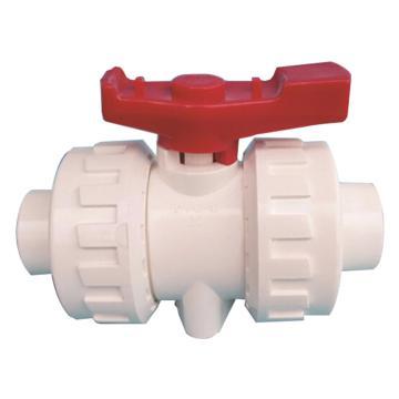 联塑 PVC双活接球阀,UPVC双由令球阀,白色,φ50