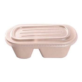 辰骐一次性餐盒(两格套盒)双格+PP盖,1000ml 230×130×60mm 500套/箱 单位:箱