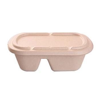 辰骐一次性餐盒(两格套盒)双格+纸浆盖,1000ml 230×130×60mm 500套/箱 单位:箱