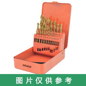 INVOUS 19件套高速钢涂层麻花钻,1-10mm,间隔0.5mm,IS781-81666