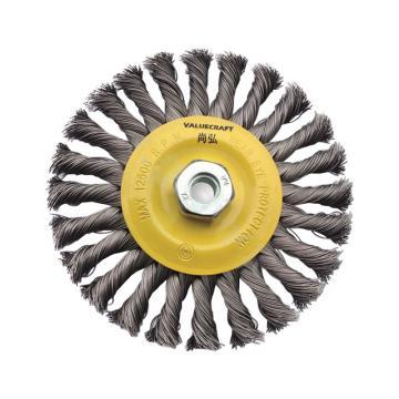 尚弘细扭平钢丝刷,直径125mm,螺纹M14×2mm,丝径0.5mm,425539-3048,10只/包