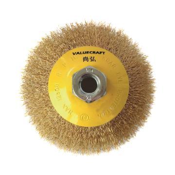 """尚弘曲丝盆型刷,直径100mm,螺纹5/8""""-11UNC,丝径0.3mm,512061-3808,10只/包"""