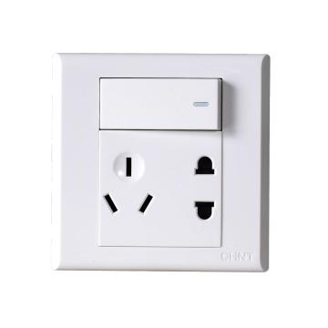 正泰CHINT NEW7S系列一位单控开关,一位两、三极插座10A,NEW7-S43900 白色