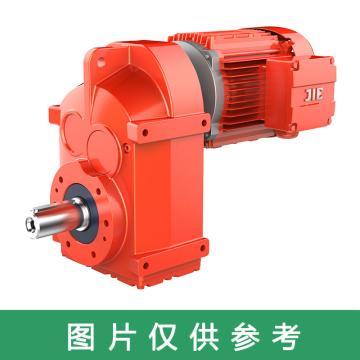 杰牌传动JIE JRT齿轮减速电机,规格77,速比25.5,JRTF77DS132M4/25.5/M1/0°/7.5kW