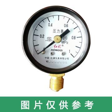 红旗 压力表,Y-50 碳钢+铜 径向不带边 M14*1.5 0~1.6MPa
