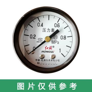 红旗 压力表,Y-40Z 碳钢+铜 轴向不带边 M10*1 0~1.0MPa