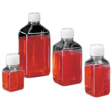 Nalgene 无菌,PET 有刻度诊断瓶,对苯二酸乙二醇酯,天然高密度聚乙烯盖,250毫升容量,每箱60,1箱