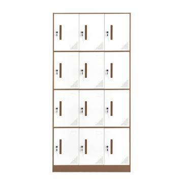 臻远 钢制储物柜,收纳柜更衣柜咖白色窄边套色款 十二门更衣柜,900*400*1851mm