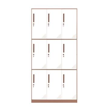 臻远 钢制储物柜,收纳柜更衣柜咖白色窄边套色款 九门更衣柜,900*500*1850mm
