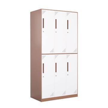 臻远 钢制储物柜,收纳柜更衣柜咖白色窄边套色款 六门更衣柜,900*500*1850mm