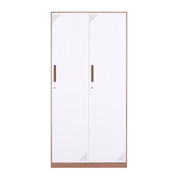 臻远 钢制储物柜,收纳柜更衣柜咖白色窄边套色款 二门更衣柜,900*500*1850mm