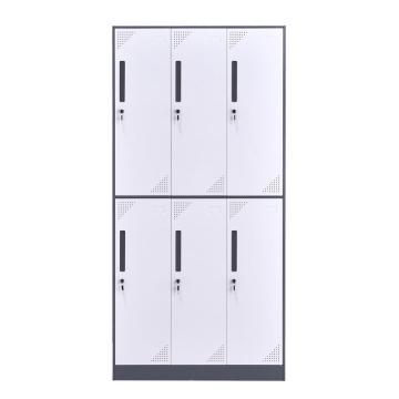 臻远 钢制储物柜,收纳柜更衣柜灰白色窄边套色款 六门更衣柜,900*500*1850mm
