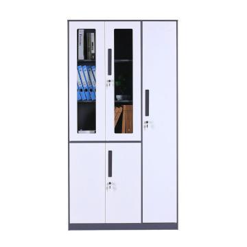 臻远 钢制储物柜,收纳柜更衣柜灰白色窄边套色款 五门更衣柜,970*500*1850mm
