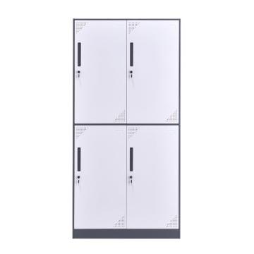 臻远 钢制储物柜,收纳柜更衣柜灰白色窄边套色款 四门更衣柜,900*500*1850mm