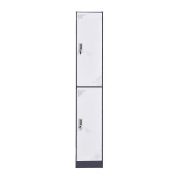 臻远 钢制储物柜,收纳柜更衣柜灰白色窄边套色款 单二门更衣柜,316*500*1850mm