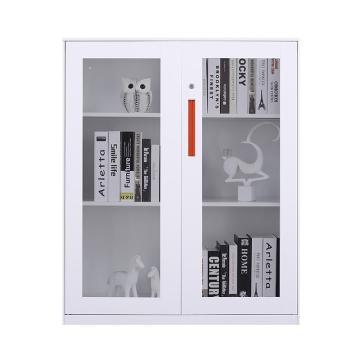 臻远 文件柜,办公柜拆装窄边柜纯白色加厚款 1090对开玻柜,900*400*1090mm
