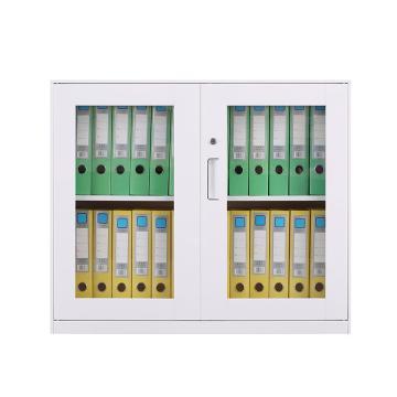 臻远 文件柜,办公柜拆装窄边柜纯白色加厚款 760对开玻柜,900*400*760mm