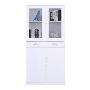 臻远 文件柜,办公柜拆装窄边柜纯白色加厚款 中二斗,900*400*1850mm