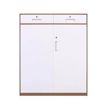 臻远 文件柜,办公柜拆装窄边柜咖白色加厚款 二斗下节矮柜,长900*宽400*高1090mm
