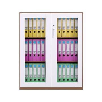 臻远 文件柜,办公柜拆装窄边柜咖白色加厚款 1090对开玻柜,长900*宽400*高1090mm