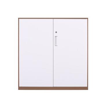 臻远 文件柜,办公柜拆装窄边柜咖白色加厚款 925对开铁柜,长900*宽400*高925mm