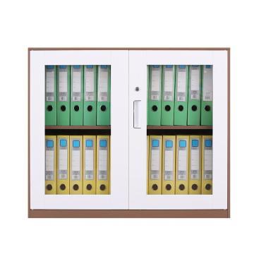 臻远 文件柜,办公柜拆装窄边柜咖白色加厚款 760对开玻柜,长900*宽400*高760mm