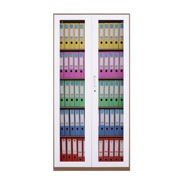 臻远 文件柜,办公柜拆装窄边柜咖白色加厚款 通玻,长900*宽400*高1850mm