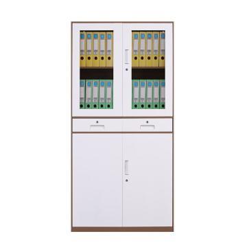 臻远 文件柜,办公柜拆装窄边柜咖白色加厚款 中二斗,长900*宽400*高1850mm