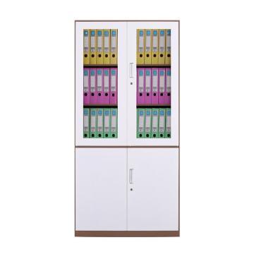 臻远 文件柜,办公柜拆装窄边柜咖白色加厚款 大器械,长900*宽400*高1850mm