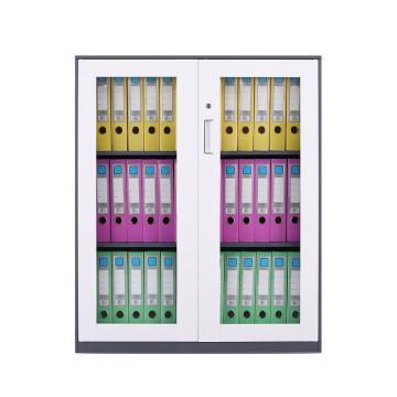 臻远 文件柜,办公柜拆装窄边柜灰白色加厚款 1090对开玻柜,长900*宽400*高1090mm