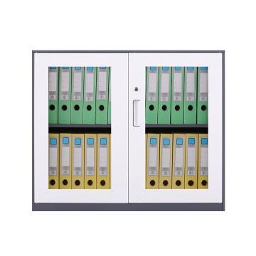 臻远 文件柜,办公柜拆装窄边柜灰白色加厚款 760对开玻柜,长900*宽400*高760mm