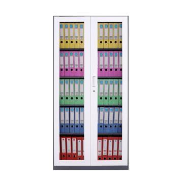臻远 文件柜,办公柜拆装窄边柜灰白色加厚款 通玻,长900*宽400*高1850mm