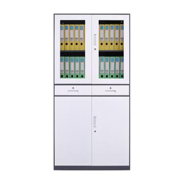 臻远 文件柜,办公柜拆装窄边柜灰白色加厚款 中二斗,长900*宽400*高1850mm