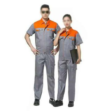 沽衣邦 涤棉夏季短袖工作服,灰色,175