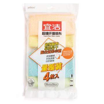 宜洁 超细纤维抹布量贩装4枚入,Y-9894 30cmx30m 单位:包