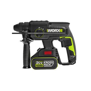 威克士充电式电锤,混凝土22mm 2.8kg,20V 4.0Ah 一电一充,WU386