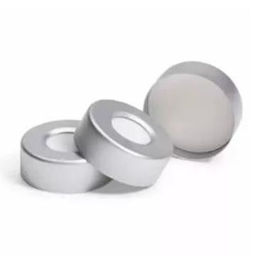 瓶盖/隔垫,钳口,顶空,20 mm,银色磁性瓶盖,棕褐色 PTFE/硅橡胶隔垫,100/包。瓶盖尺寸:20 mm