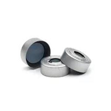 钳口顶空瓶盖,带隔垫,铝盖,带有安全释压装置,模塑 PTFE/丁基橡胶隔垫,100/包。瓶盖尺寸:20 mm