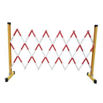 锦安行 管式玻璃钢伸缩安全围栏 1.2m*2.5m(伸缩杆为管式,刷红白相间色,不带轮子),JCH-HL-24