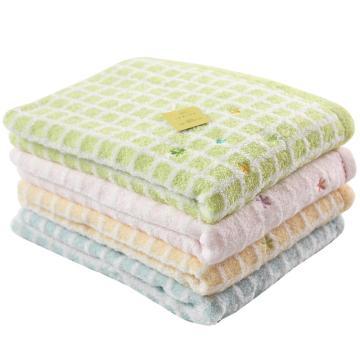 内野 日本品质方格刺绣纯棉浴巾,9720B048-N 70*130cm 随机色 单位:条