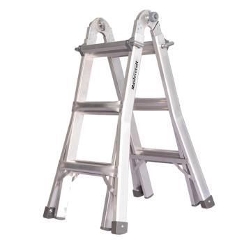 西域推荐 美标铝合金多功能梯,承重136kg,三层12步 直梯h3370mm,人字h1690mm,LGF-3