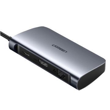 绿联Type-C多功能转换器,输出端:3*USB3.0A 母;1*HDMI;1*RJ45(千兆)CM212(50771)灰色
