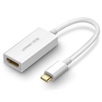 绿联Type-C扩展坞,USB 3.1Type-C转HDMI转换器,40273 10cm 白色