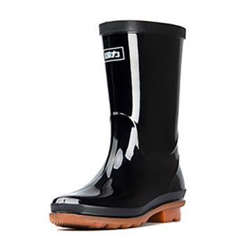 回力 女士黑色中筒雨靴,853单层,37