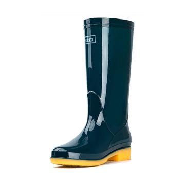 回力 中筒雨靴,女款,墨绿色,813-38