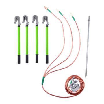 华泰 400V低压接地线 0.5米平口螺旋接地棒*4根 4*1+6米 16mm²软铜线+接地夹*1 配0.5米接地线桶*1