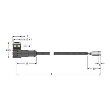 图尔克 传感器电缆,WKC4.4T-5/TXL