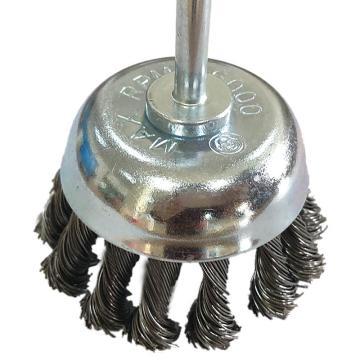 库兰 带柄钢丝轮,75mm,扭丝,钢丝/0.5mm丝径/6mm杆/镀锌/RPM12500,12个/盒